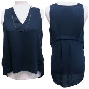 Zara Basic Navy Tank with Pearl & Gold Chain Neck